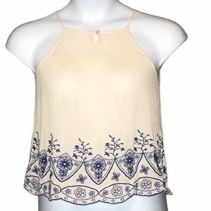 Chloe & Katie crinkle embroidered XS tank
